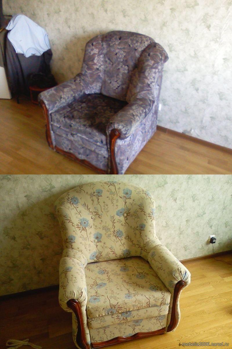 Переобивка мягкого кресла на дому